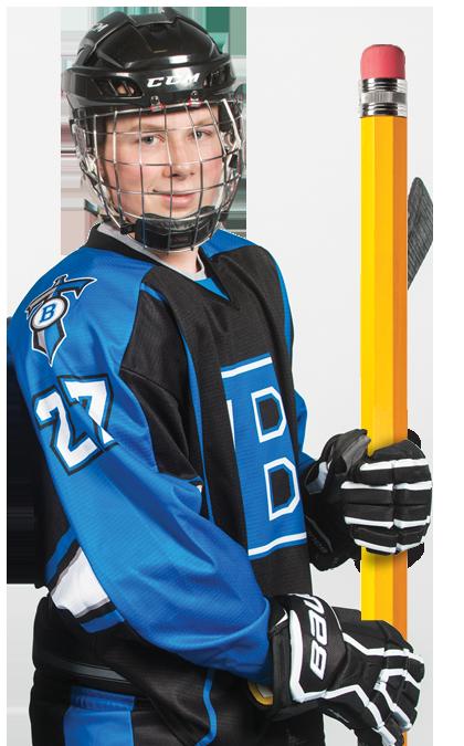 Joueur de hockey tien un crayon